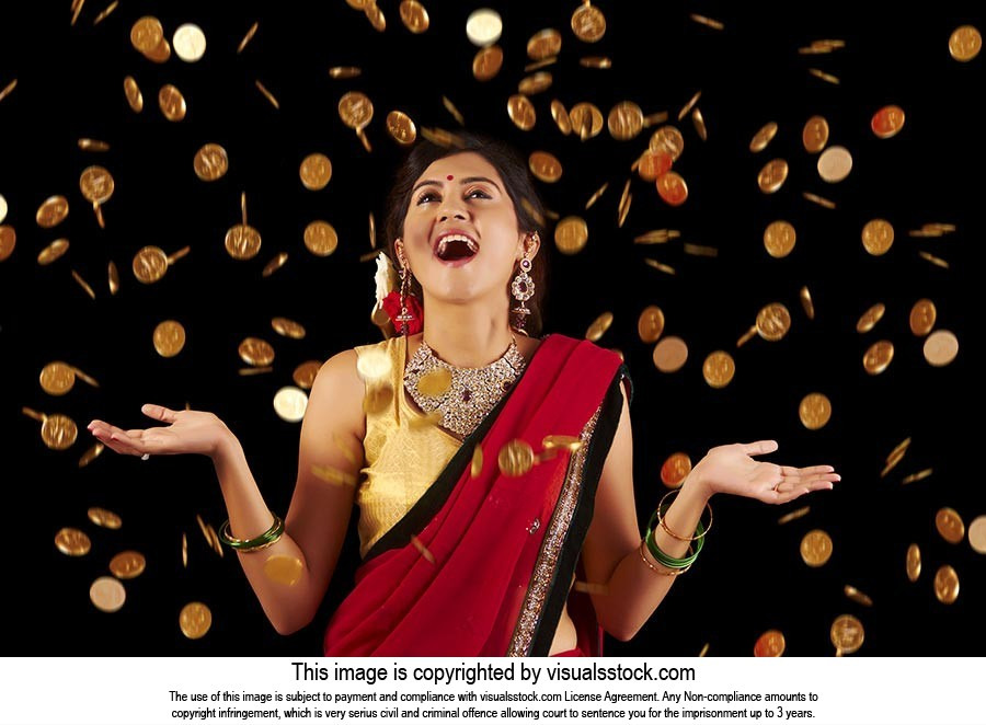 Woman Diwali Falling Gold Coin Money Lottery