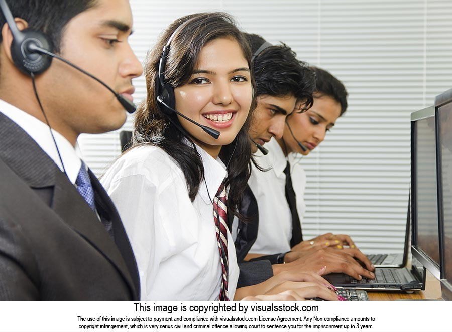Call center operators Young business woman in head