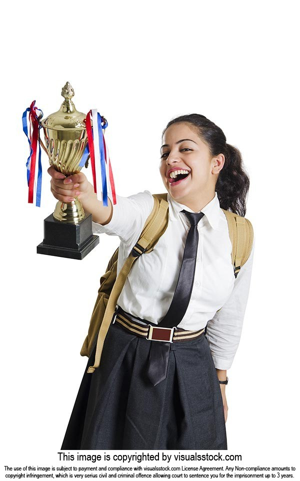 1 School Girl Student Showing Winning Trophy Succe