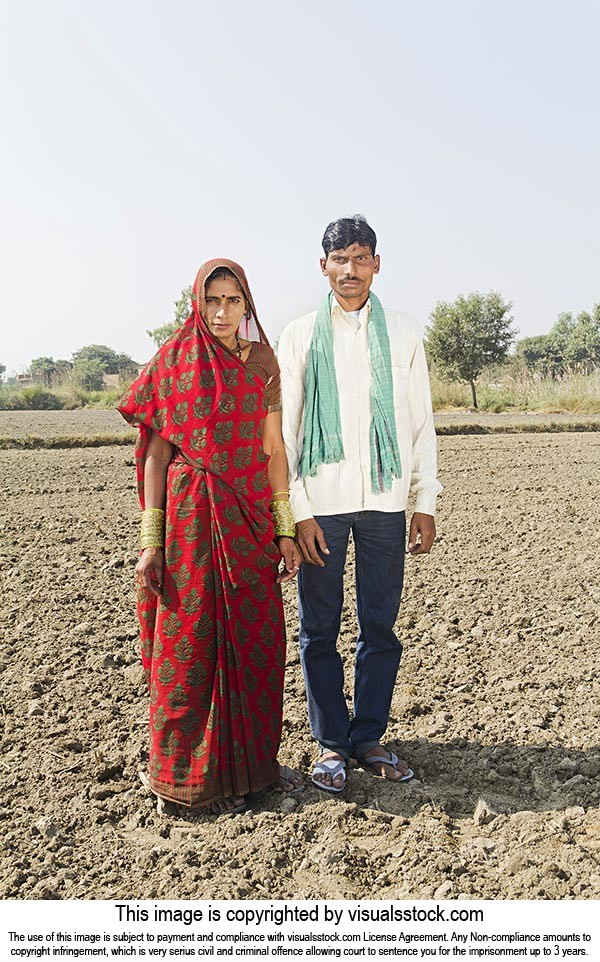 Rural Farmer Couple Farm Standing