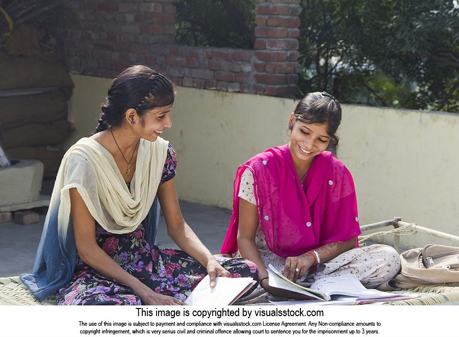 2 Rural Teenager Sister School Student s Sitting O