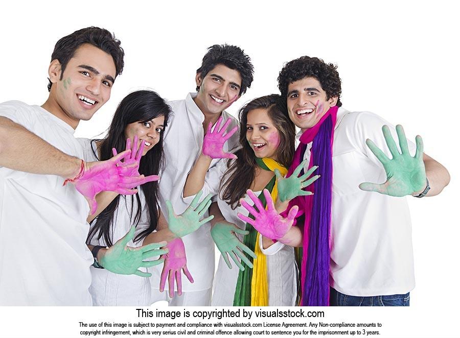 Happy Group Friends Palm Showing Colour s Holi Fes