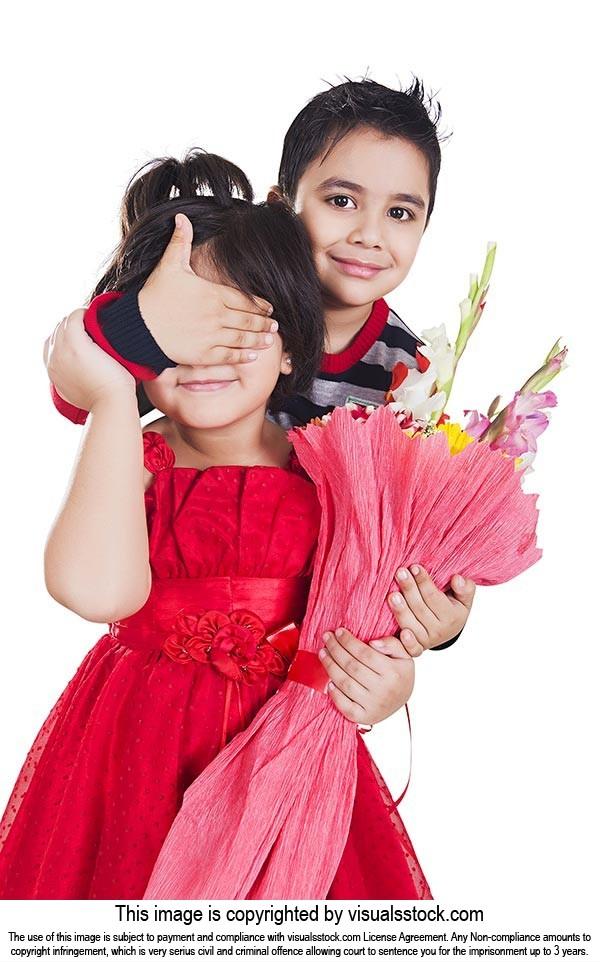 Children Boy Surprised Flowers girl Valentine Day