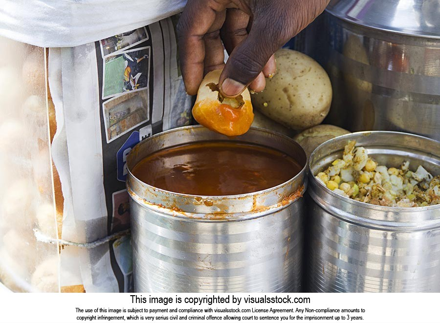 Panipuri Hawker Selling Street Vendor Man Part-of
