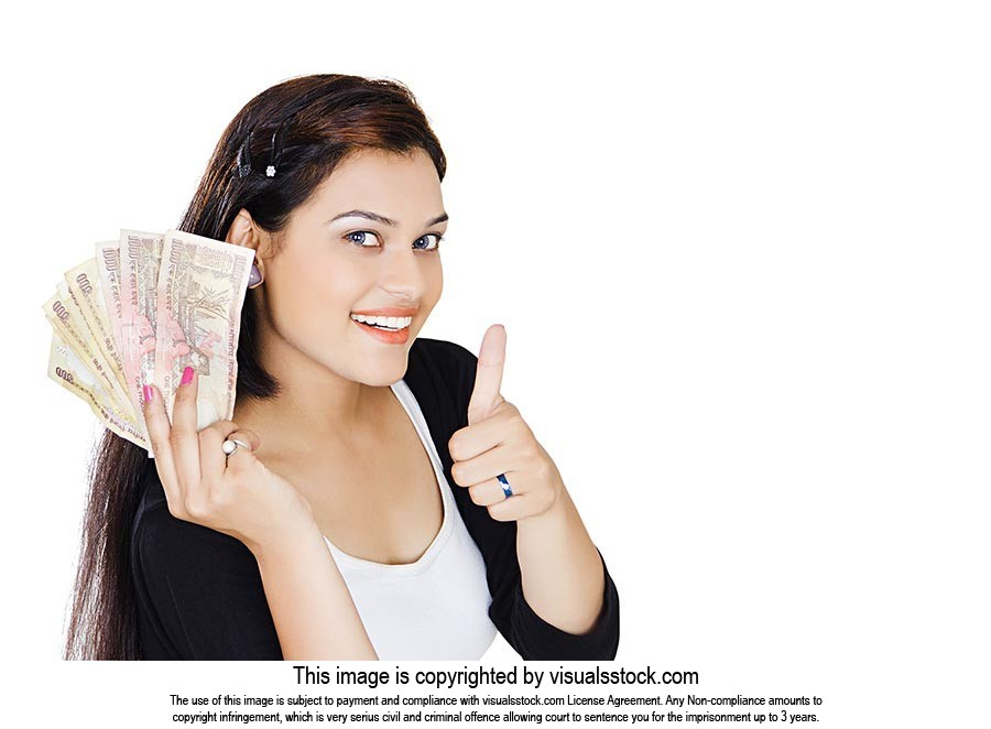 Woman Showing Indian Money Thumbsup