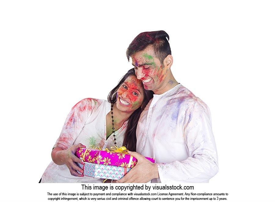 Couple Holi Festival Receiving Gift s Celebration