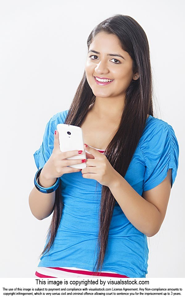1 Indian Young Woman Reading Text Message Phone Sm