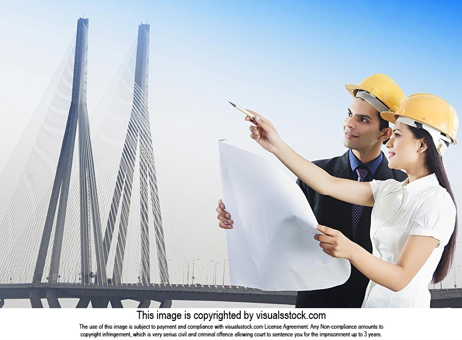 Man Woman Architects Bridge Site