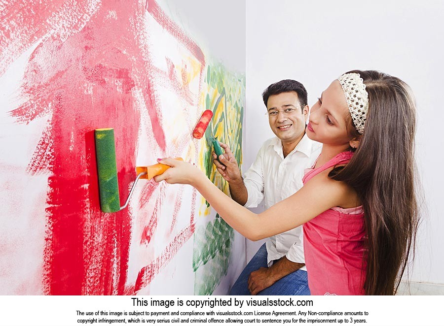 Father Daughter Painting Wall Paint Roller Home Im