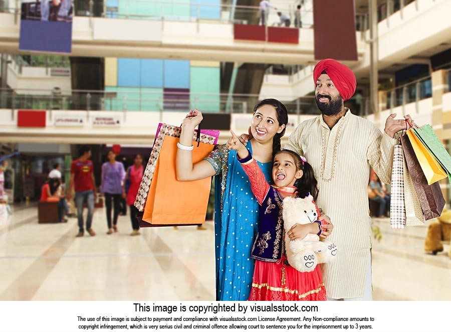 Sikh Family Shopping Bags Mall Pointing