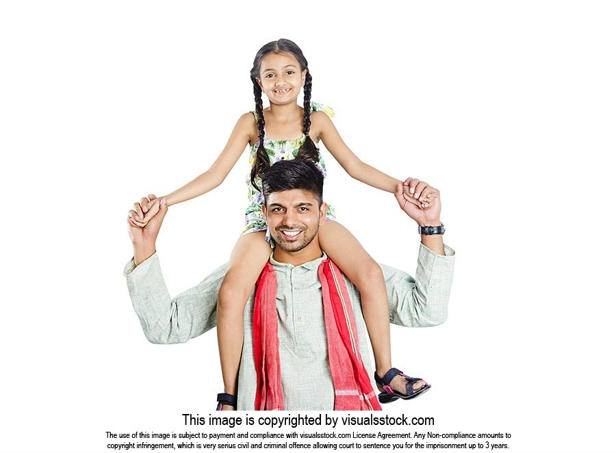 Father Carrying Daughter Shoulders