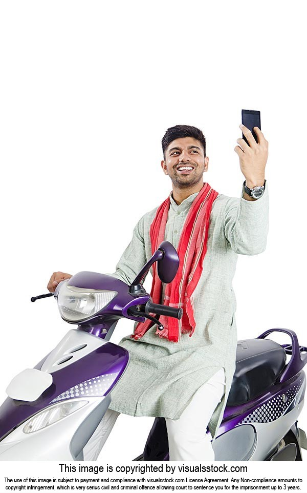 Rural Man Sitting Scooter Doing Selfie