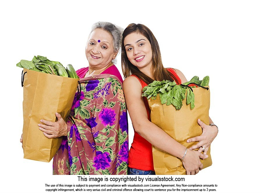 Mother Daughter Grocery Shopping Bag Vegetables