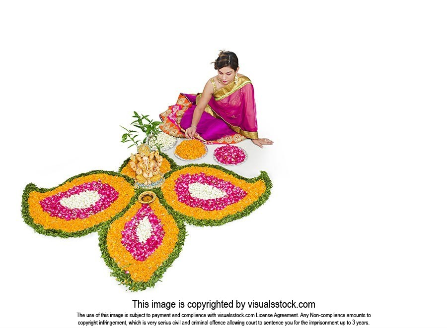 Woman Festival Diwali Flower Rangoli Decoration