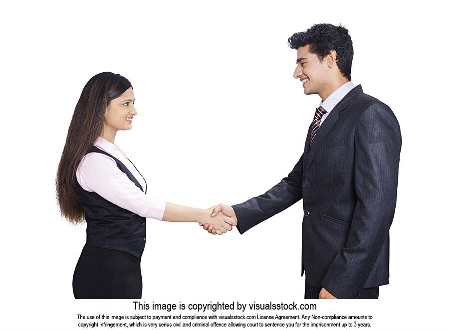 Business Woman Man Handshake