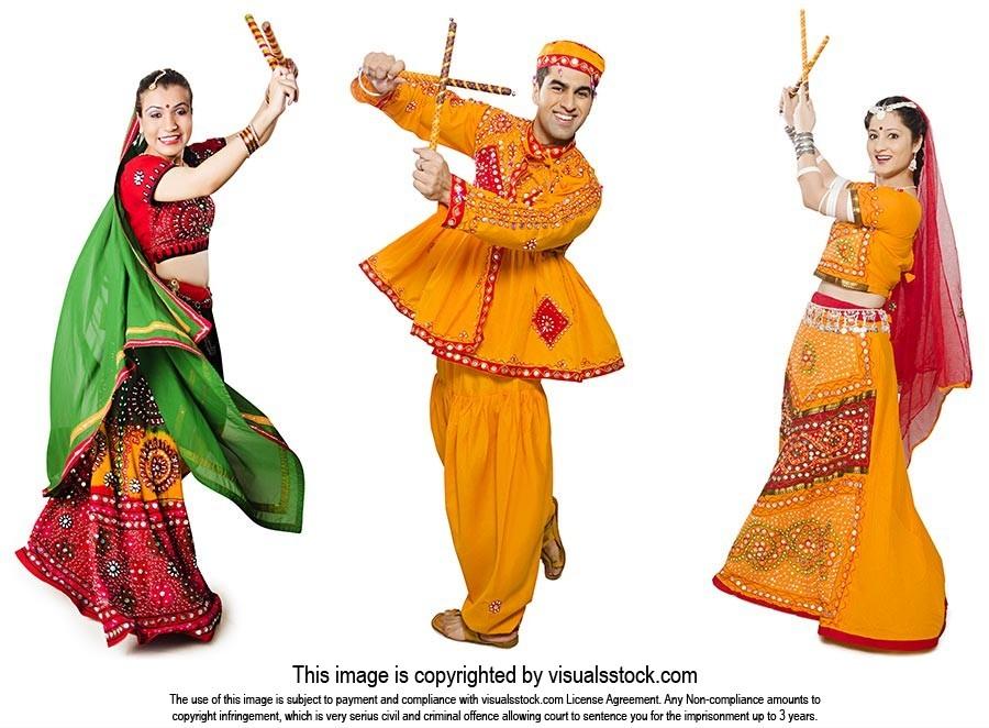 Men Women Performing Dandiya Navratri Celebrations