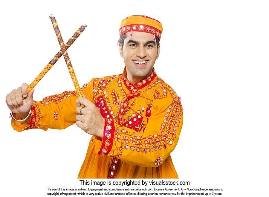 Indian Gujrati Man Navratri Dandia Garba