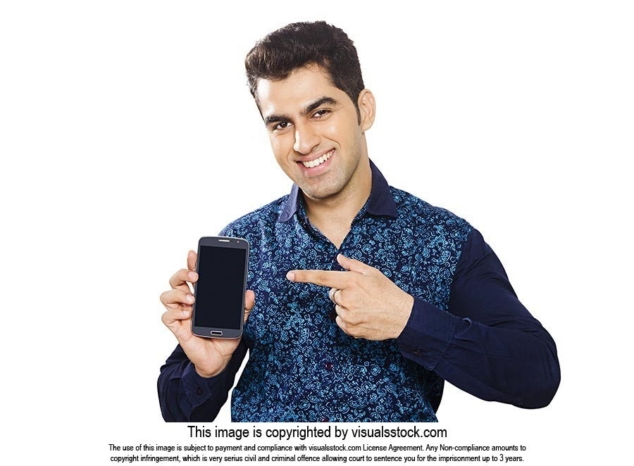Man Showing Smartphone Quality Pointing