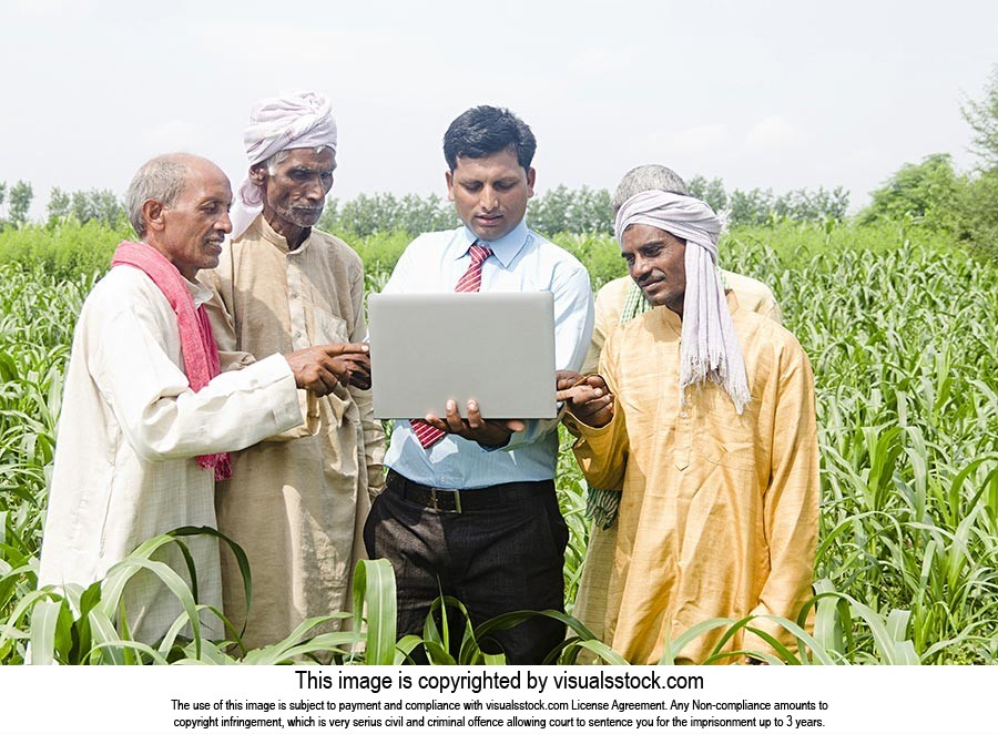 Businessman Farmers Farm Laptop