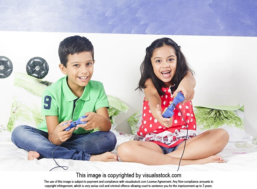 Kids Playing Video Games Bed