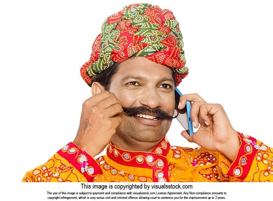 Gujrati Man Talking Mobile Phone