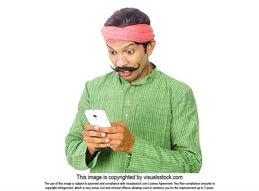 Shocked Rural Man Reading Message