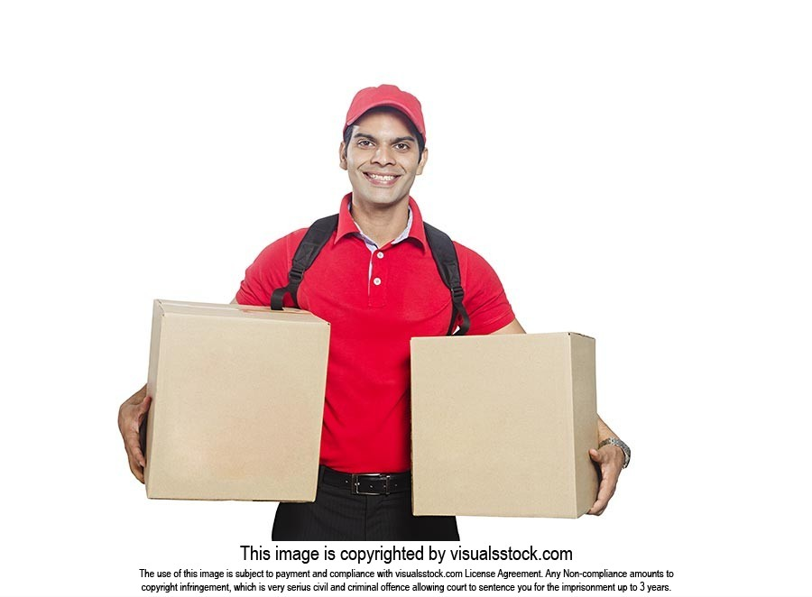 Delivery Man Holding Parcel Boxes