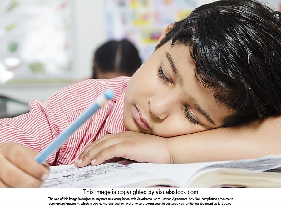 School Child Boy Sleeping Classroom