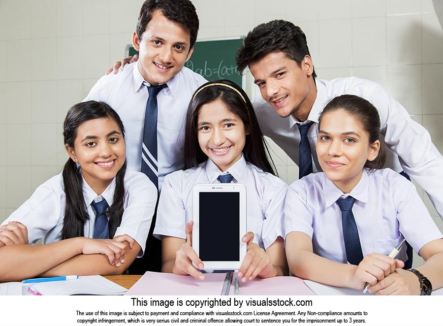 School Friends Showing Tablet