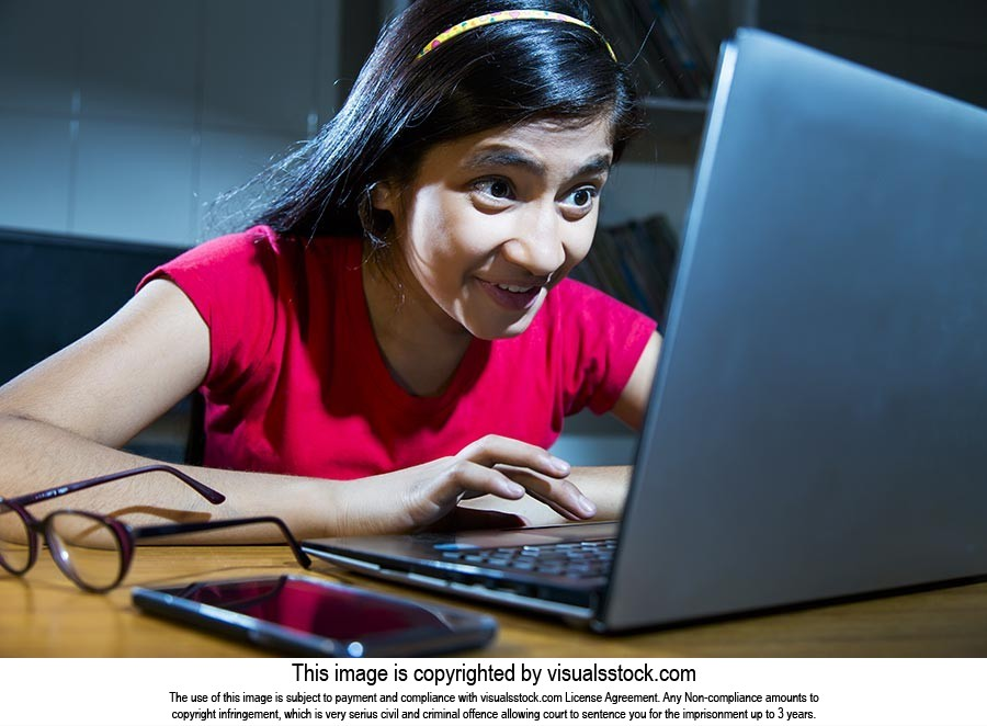 Girl Appearing Surprise Laptop