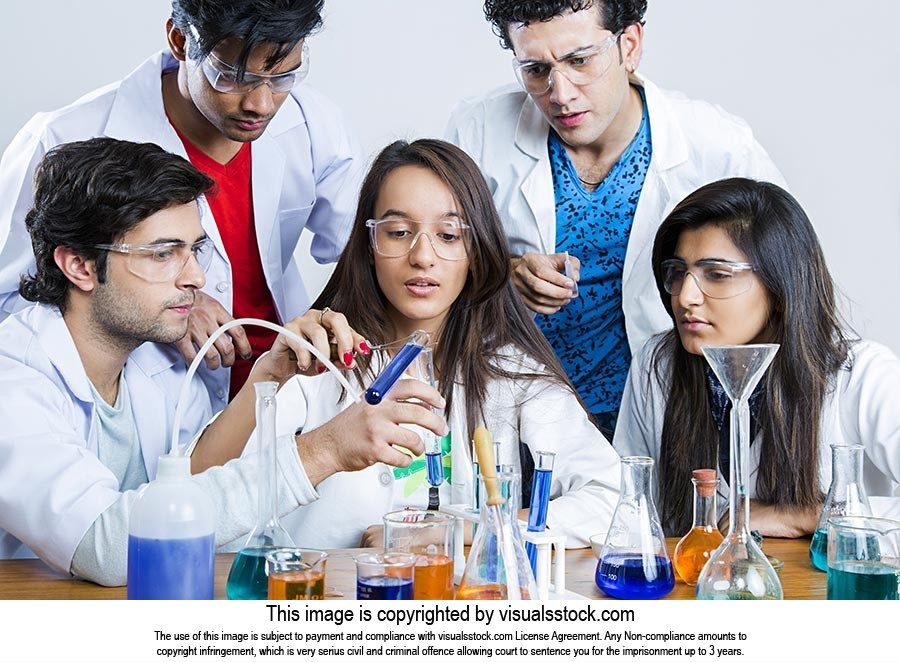 Indian College Students Friends Chemistry Lab Chemical