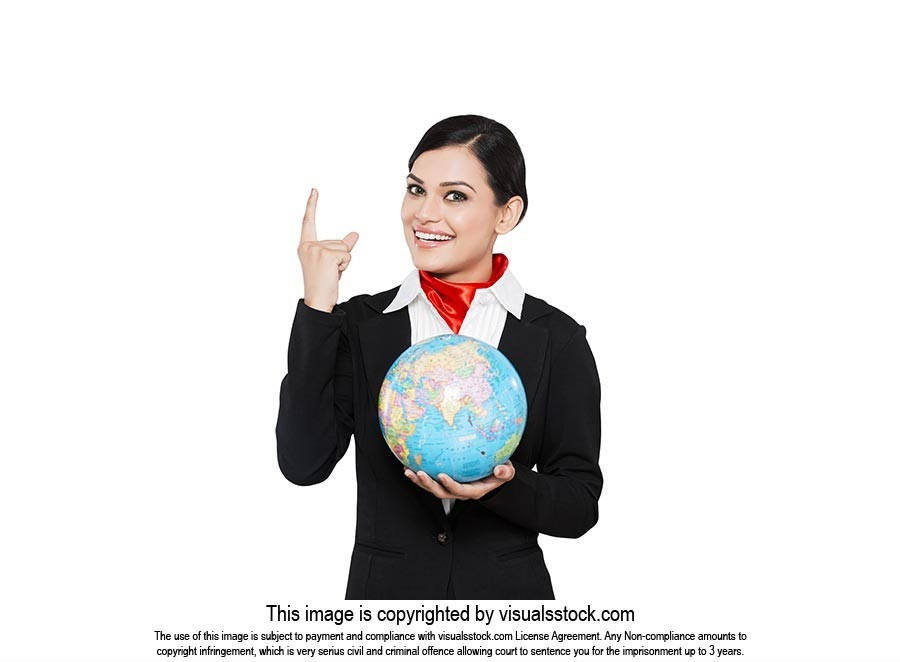 Air Hostess Pointing Globe