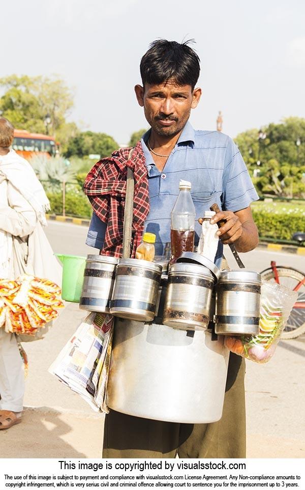 Indian Man Vendor Selling Bhelpuri Small Business