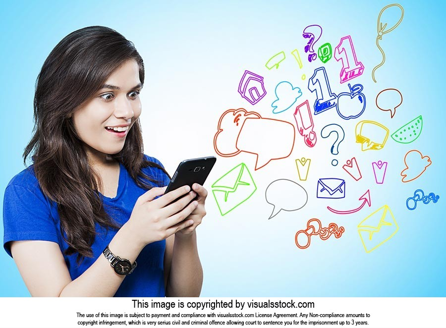 Young Woman Surprise Messaging Phone Digital Techn