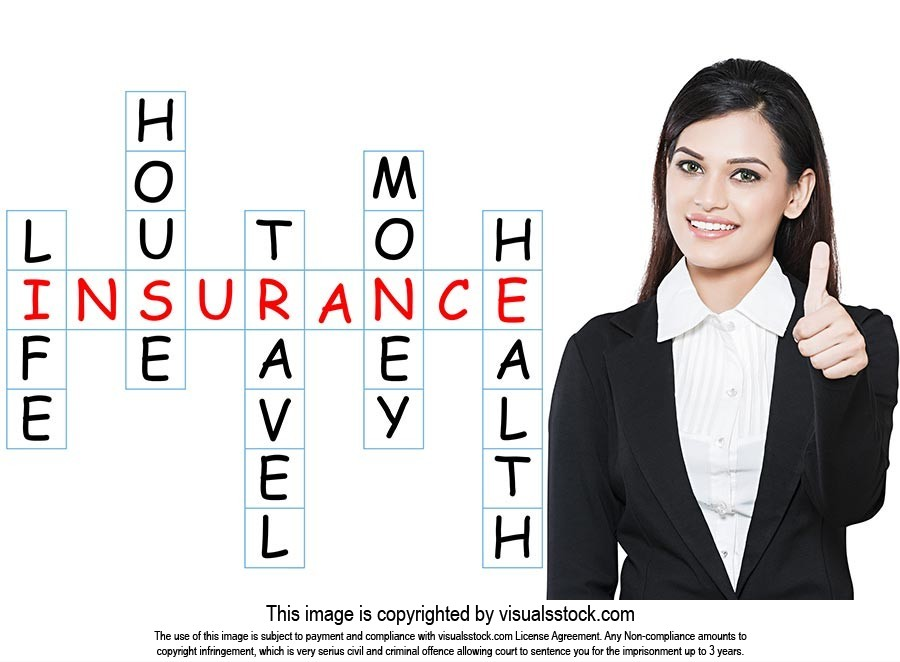Businesswoman Writing Digitally Enhanced Insurance