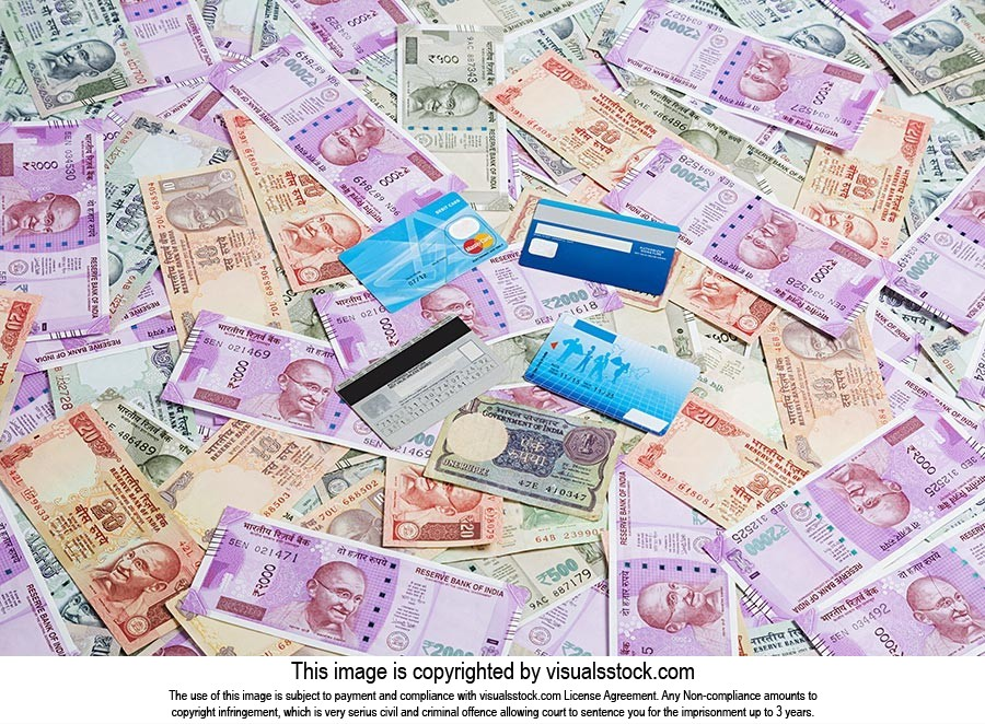 Indian Rupees Money Notes Credit card