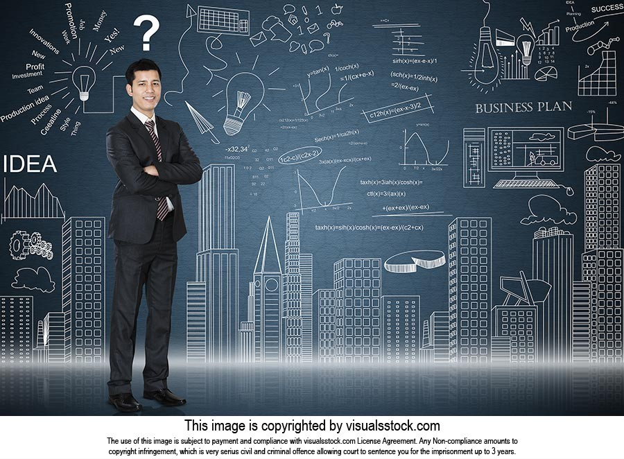 Businessman Standing Illustration Painting Graph S