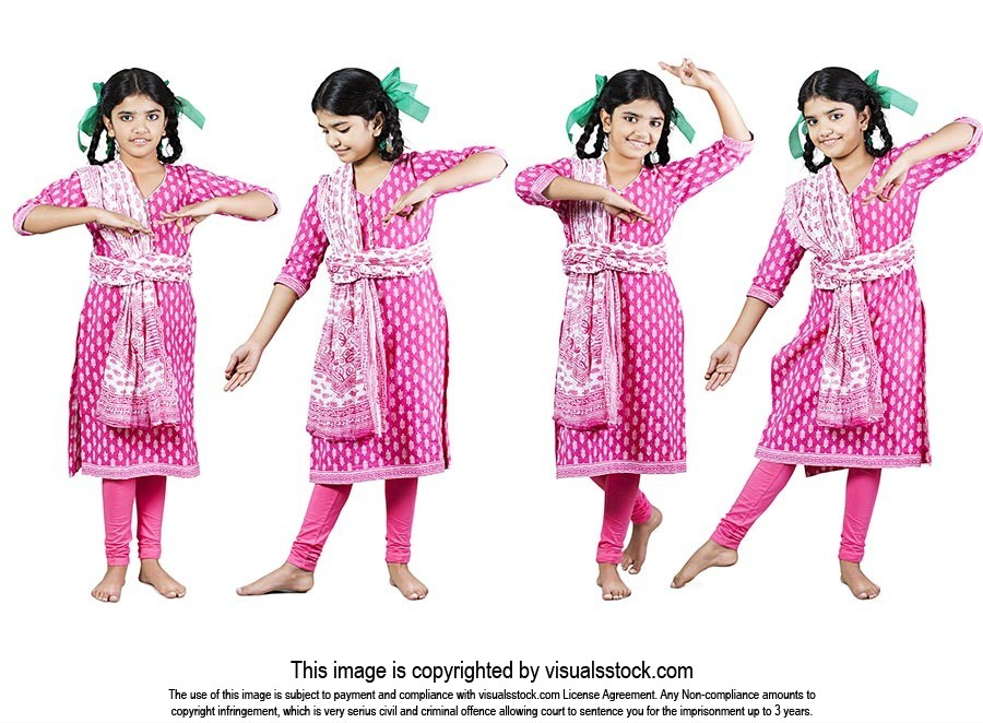 Indian Rural Little Girl Kathak Dance Montage Phot