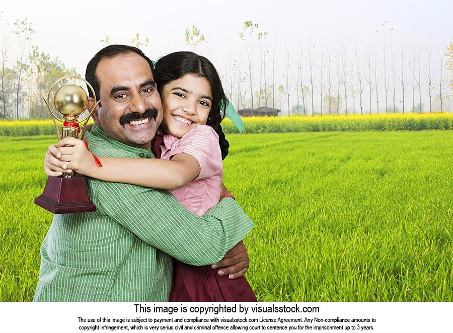Rural Father Hugging Daughter School Victory Troph