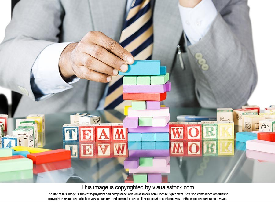 Businessman Stack Building Blocks Promotion Growth