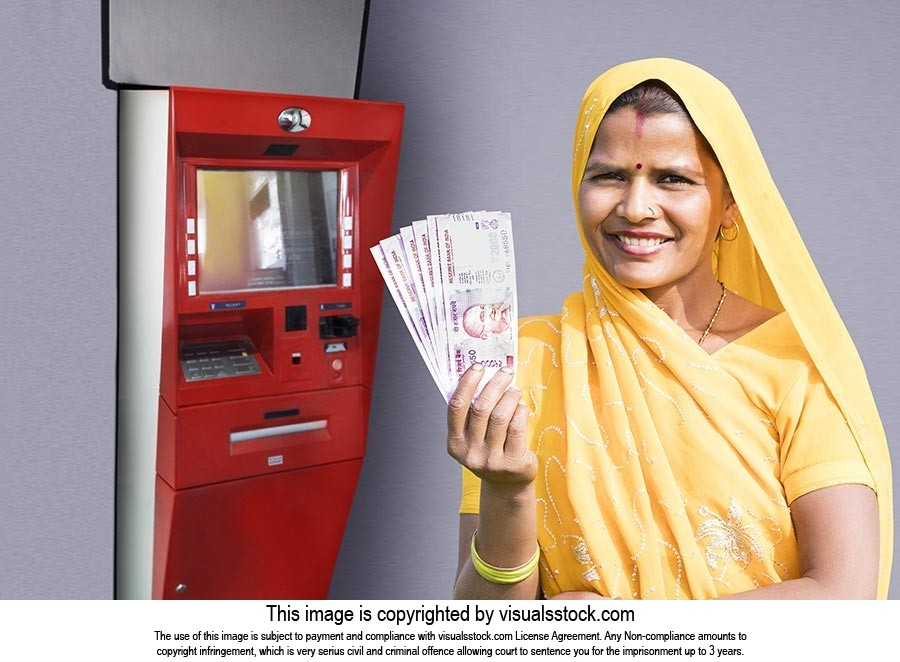 Indian Rural Lady Cash Withdraw ATM Smiling