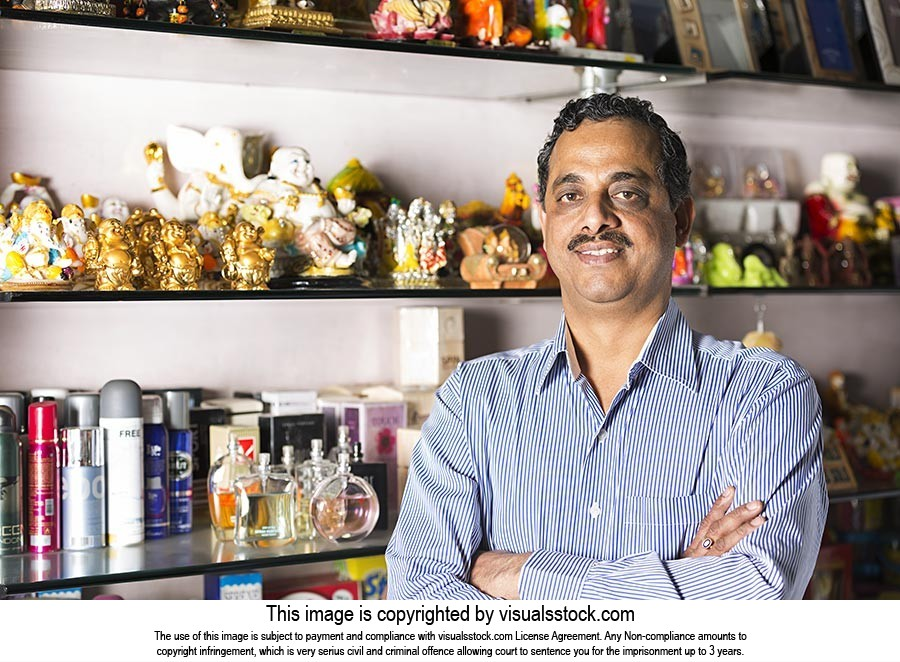 Indian Man Small Business Owner Departmental Store
