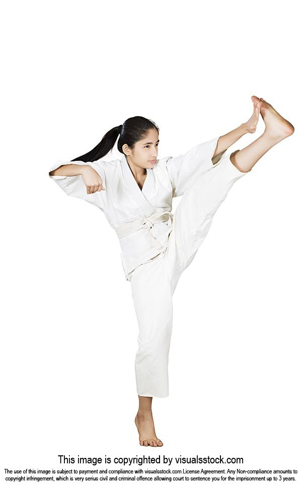 Martial Arts karate Girl taekwondo student kick