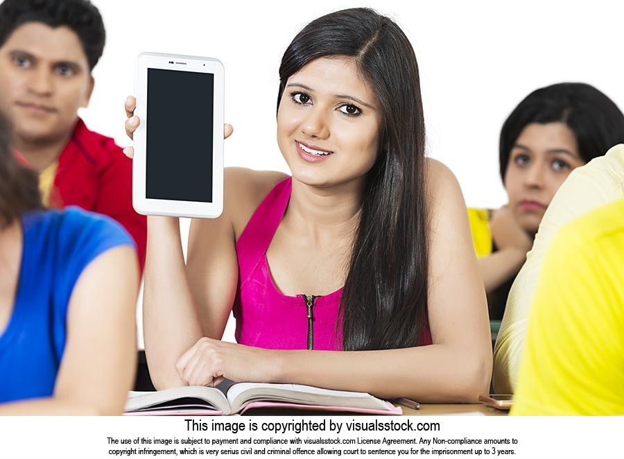 College Girl Student Showing Digital Tablet Educat