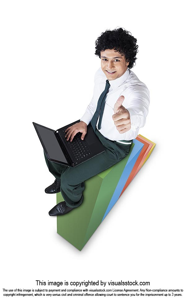 Education Graph Laptop School Success Boy Thumbsup