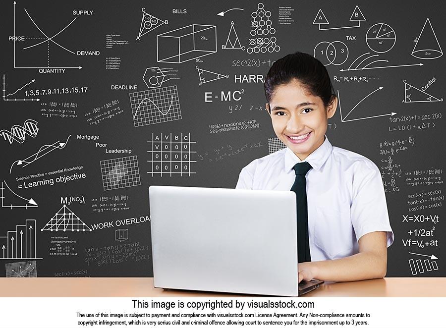 School Girl Laptop Studying Exam Preparing Classro