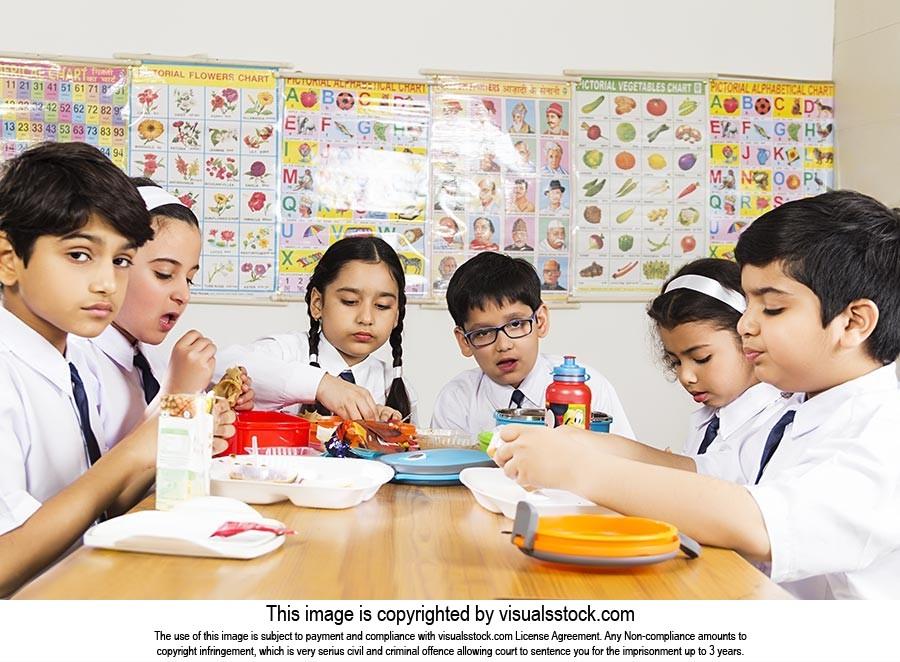 Kids School Friends Eating Cuisine Lunch Break