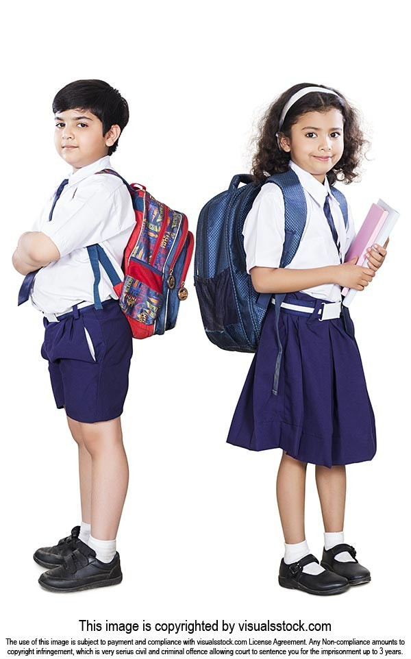 School Student Boy Girl Friends Standing Uniform