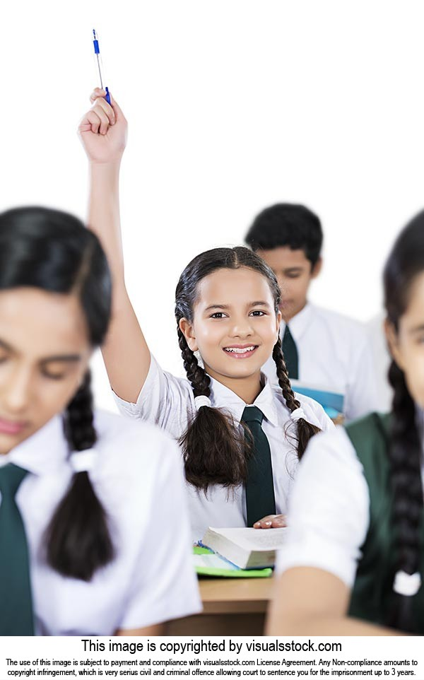 School Girl Student signalling answer hands raised