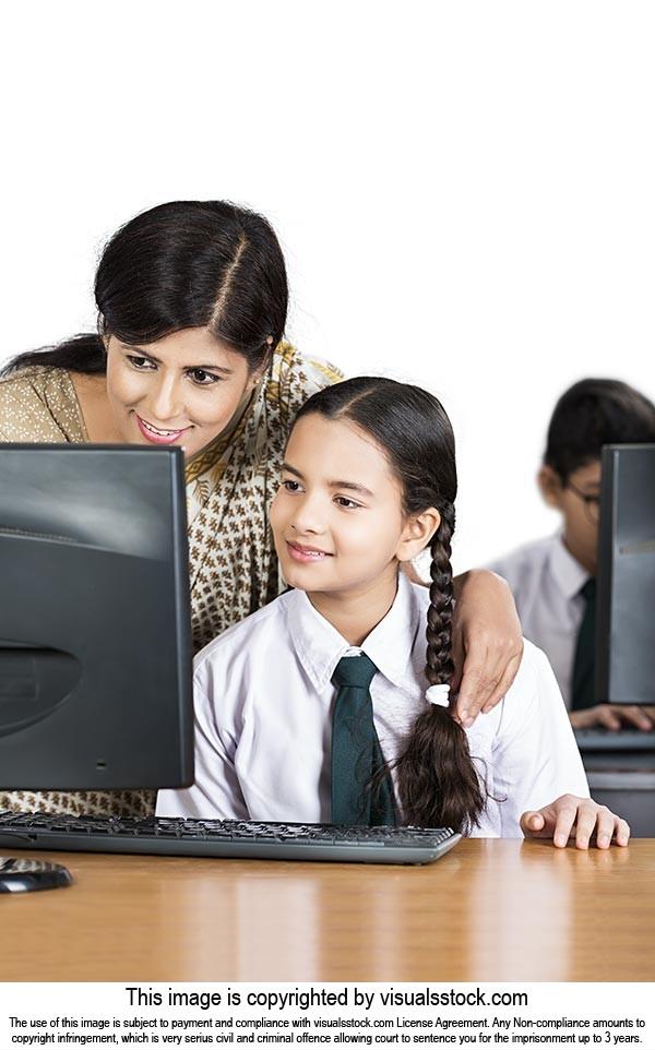 School Girl Student Teacher Helping Study Computer